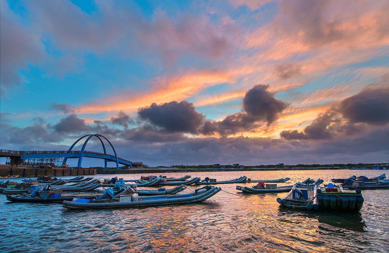 王功漁港の日暮れ