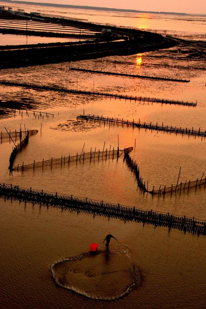 七股潟湖の夕焼け