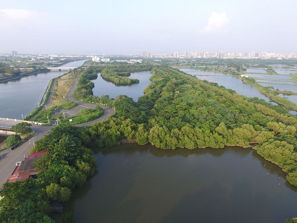 援中港湿地公園の鳥瞰図