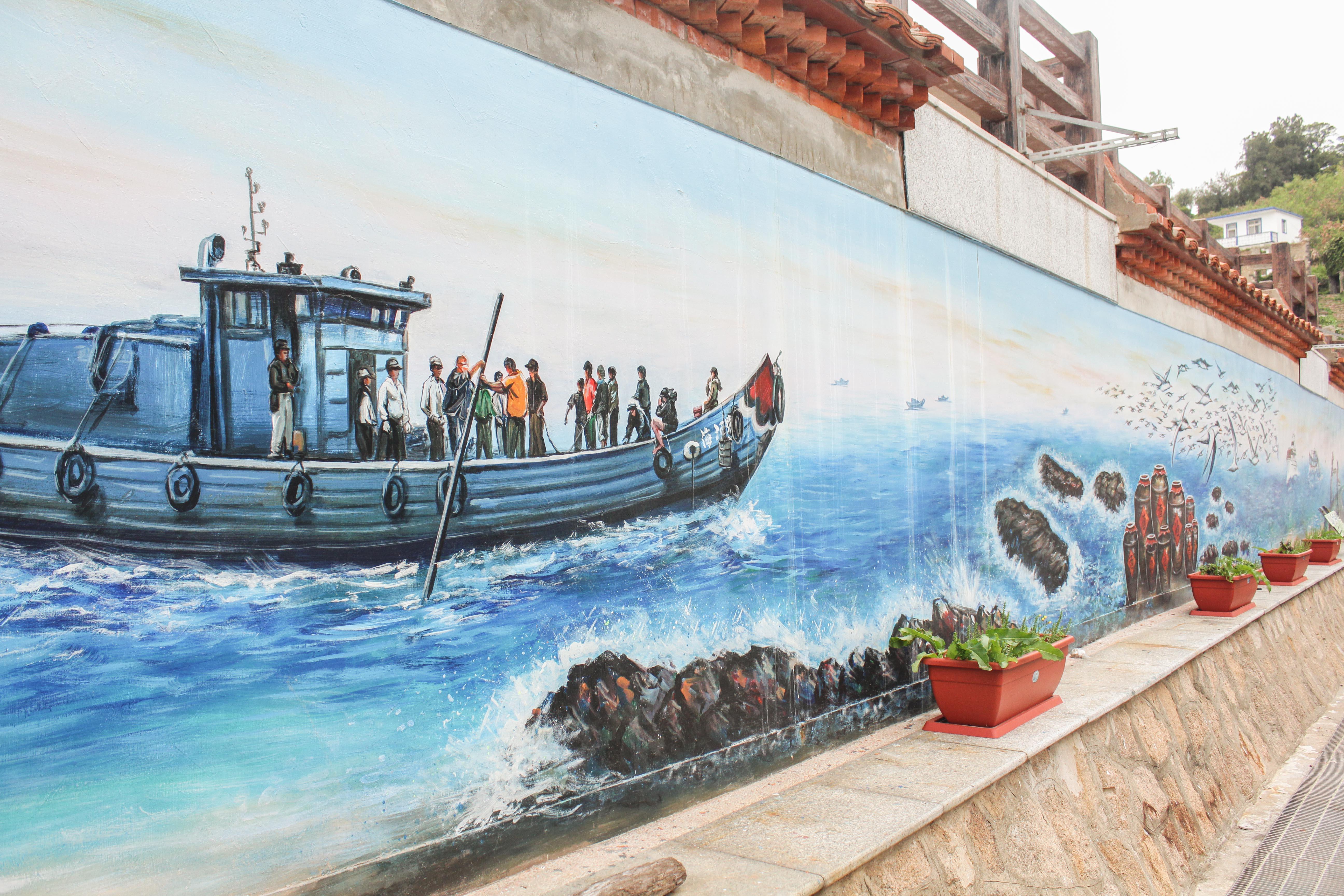 津沙集落の壁絵