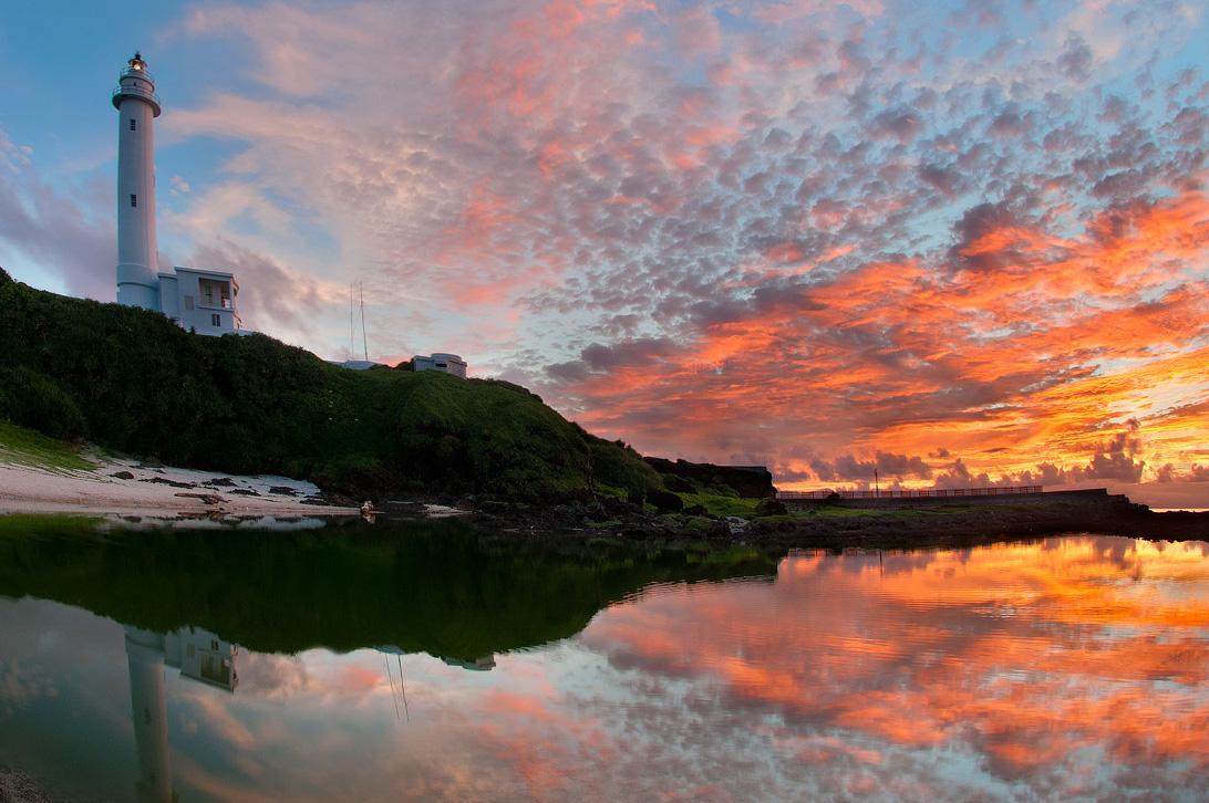 緑島灯台の夕焼け