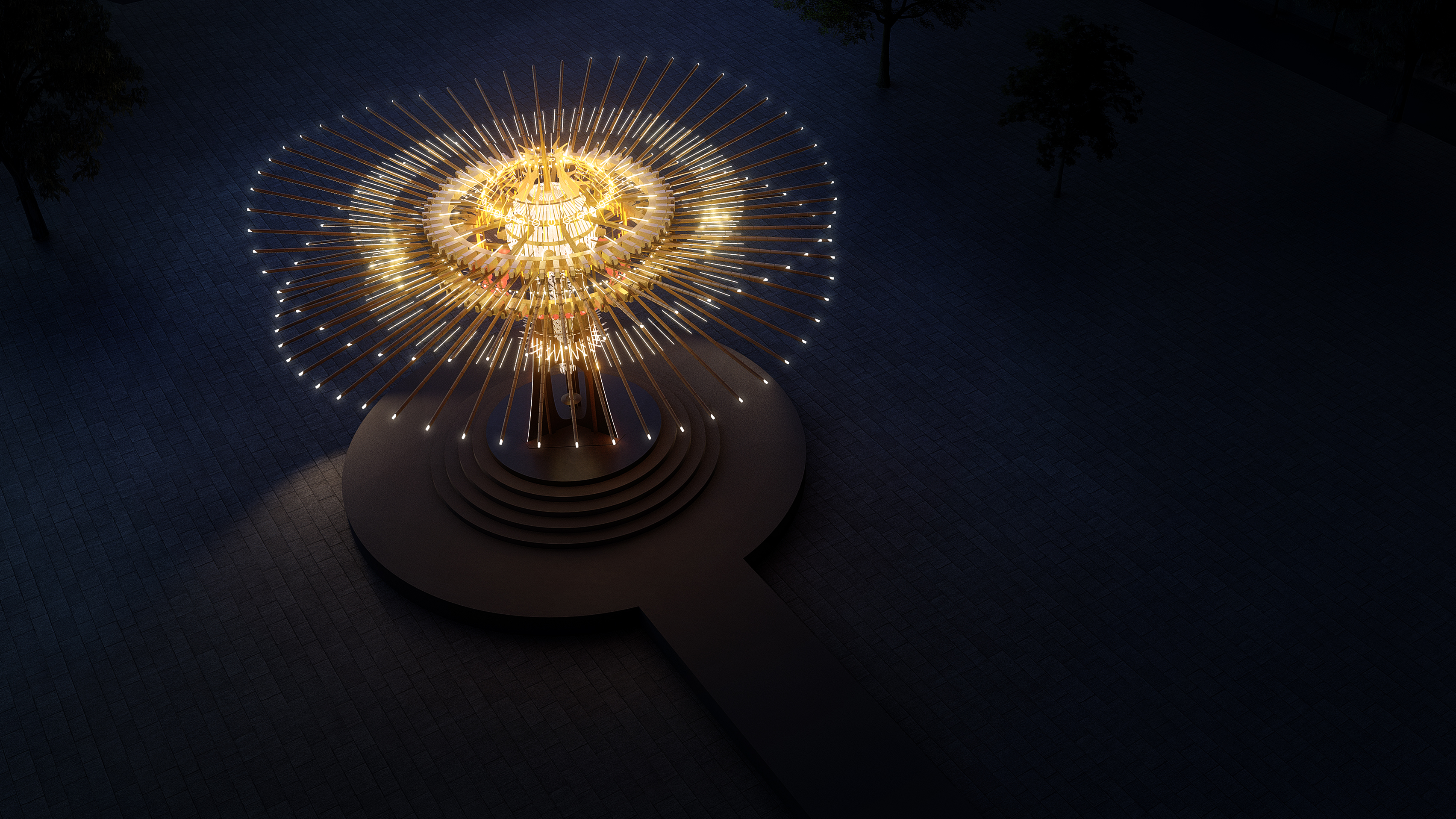 主灯「乘风逐光」设计连结新竹在地产业与传统竹艺,将108根竹子、风城特色、工艺科技等元素结合